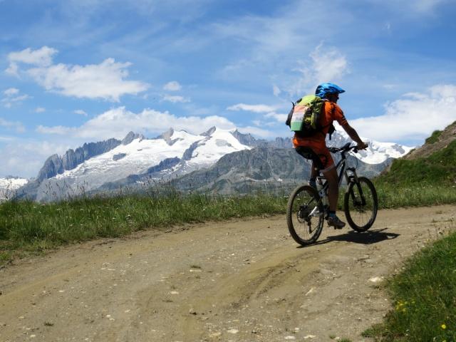 In prossimità dello scollinamento per l'alpe Äbnimatt - panorama sui rilievi dell'Aletscharena (Geisshorn, 3.740)