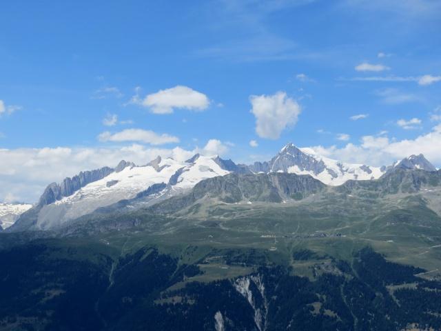 Altopiano dell'Aletsch (Riederalp, Bettmeralp, Fischeralp),  Aletschhorn (4.193) ed i ghiacciai sovrastanti (Driestgletscher e Zenbaechengletscher)