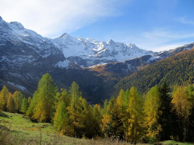 Alpe Piota, panorama sul Pizzo Campolungo e sul Pizzo Campo Tencia innevati