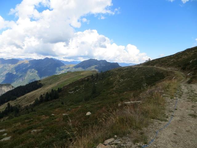Tratto finale dell'interpoderale in direzione dell'Alpe Pizzo (appare sullo sfondo)