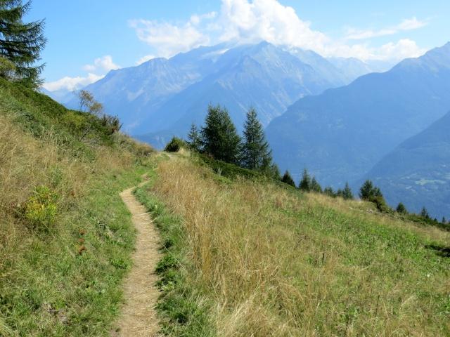 La traccia di sentiero che si stacca dal Col du Joux