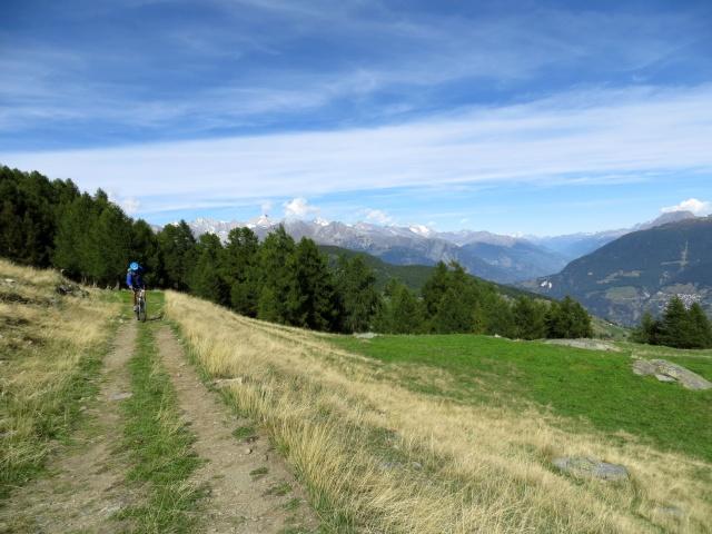 Traccia sterrata che da Moosalp conduce all'alpeggio di Läger