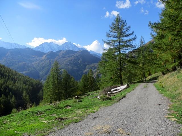 Pussetta - termine del sentiero che scende dal Passo ed inizio dello sterrato che conduce a fondovalle nella Zwischbergental