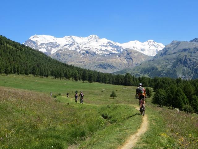 Sentiero all'interno dell'Alpe di Metsan, imponente sfondo sulla catena del Monte Rosa