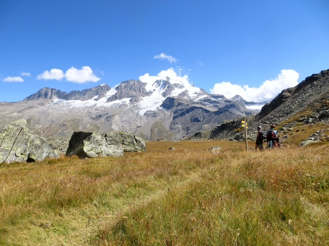 Il Gran Paradiso ci accompagna lungo il sentiero che attraversa il vallone di Meyes