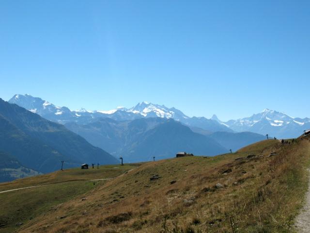 Verso Kuehboden-Fiescheralp - panorama Mischabel, Cervino, Weisshorn
