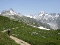 Tratto di sentiero finale per il Grimselpass, sullo sfondo il ghiacciaio del Rodano