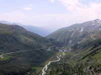 Panorama dal Belvedere su Obergoms, Rodano, strada del Furkapass e Grimselpass