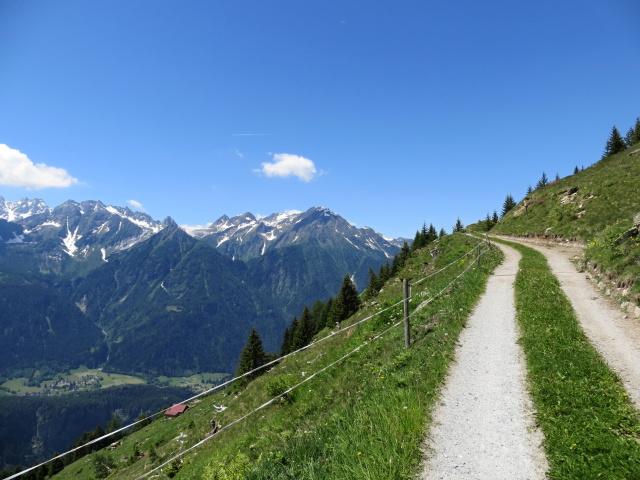 Sterrato per Somprei, panorama su Alpe Cadonigo
