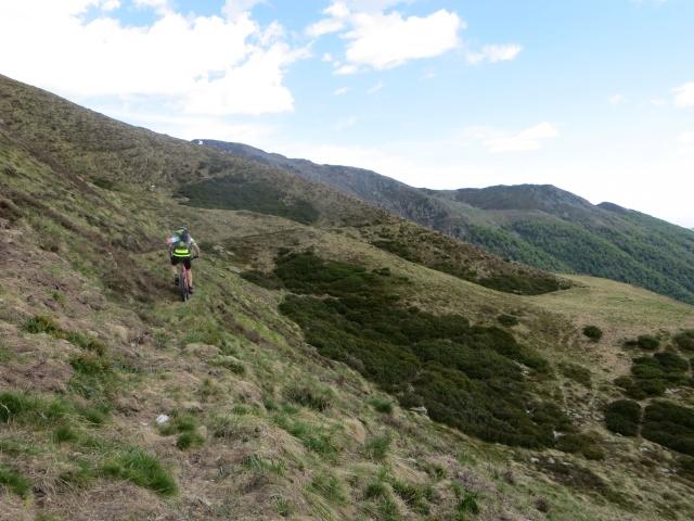 Traccia di sentiero lungo il pendio del Camparient in direzione dell'Alpe