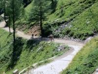 Salita per l'Alpe Veglia, tratto assai ripido - ogni mezzo è lecito: chi pedala e chi spinge!