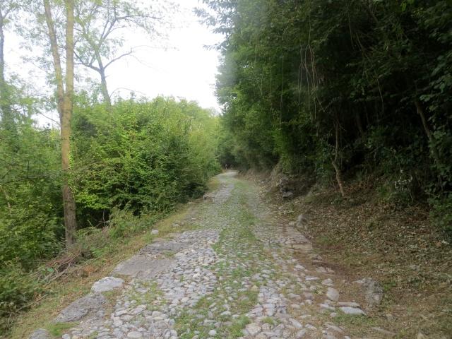 L'antica strada patriziale acciottolata che sale all'Alpe Caviano