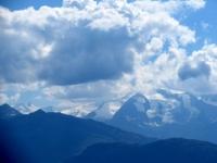 Panorama dall'Aletschbord di Belalp: gruppo del Mischabel, Strahlhorn e Rimpfischhorn