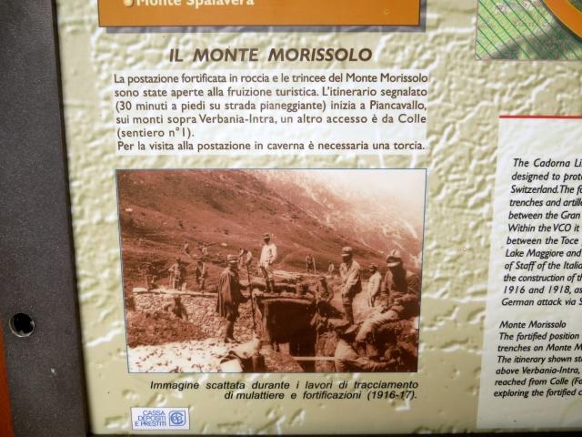 Bacheca informativa della Linea Cadorna del Monte Morissolo