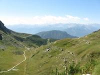 Panoramica sulla strada dell'ascesa e sul Vallone di palasinaz