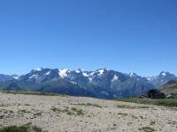 Gruppo del Massiccio degli Écrins confinante con la vallée de la Guisane, vista dal Col du Granon