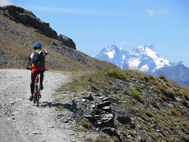 Lungo le pendici della Roche de l'Aigle in direzione del Colle Jafferau - particolare del Massiccio degli Ecrins: La Meije (3.983 m)