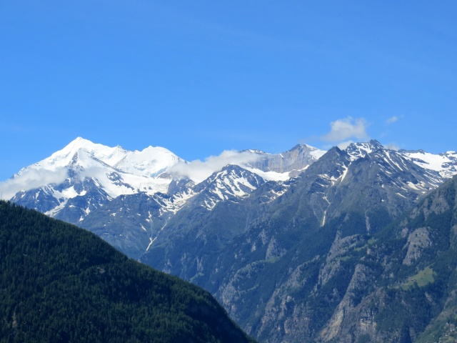 Salita a Riedji, vista su Weisshorn (4.506), Bishorn (4.153), Brunegghorn (3.833), Barrhorn (3.583)
