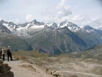 Gornergrat, panorama su: Weisshorn (dx), Schalihorn, Zinalrothorn (centro), Wellenkuppe e Ober Gabelhorn (sx)