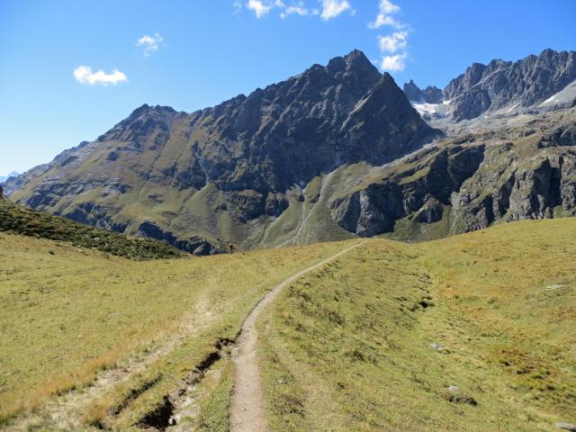 Il sentiero prativo che sale dall'Alpe di Cignana alla Finestra