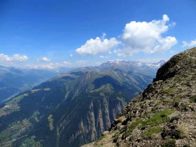Panorama dalla sommità del Breithorn, sullo sfondo a sinistra il ghiacciaio del Rodano