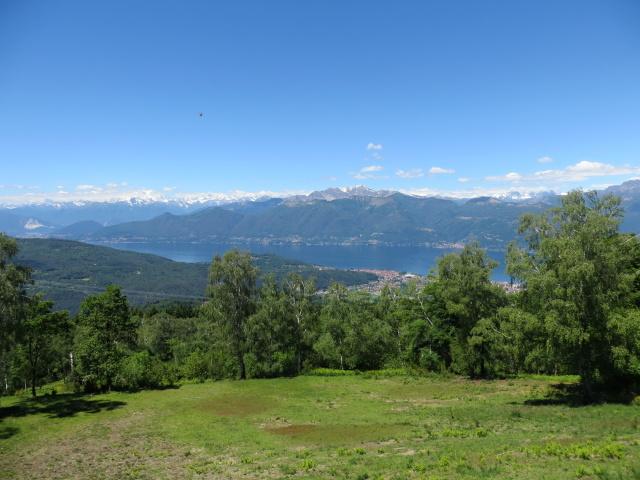Panoramica dal Sette Termini su Lago Maggiore, arco alpino (Gruppo del Rosa e del Mischabel), rilievi della Val Grande
