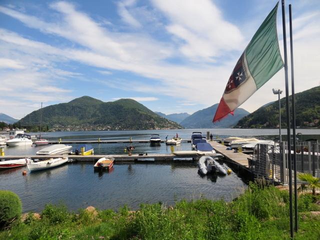 Porto Ceresio, al centro il Monte Arbostora (Lugano)