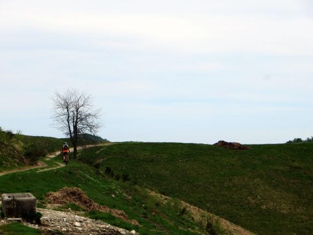 La traccia sterrata che procede in quota dal Colle del Ranghetto in direzione dell'Alpe Sacchi