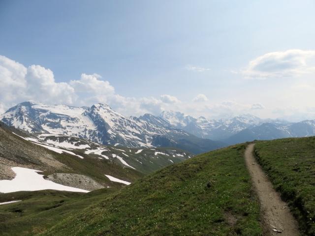 Inzio del trail in discesa dal Saflischpass, sullo sfondo i rilievi del Gruppo del Sempione