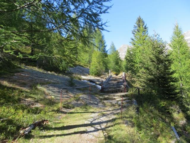 Il sentiero che corre in quota in direzione di Dagro - attraversamento di ponticello in legno