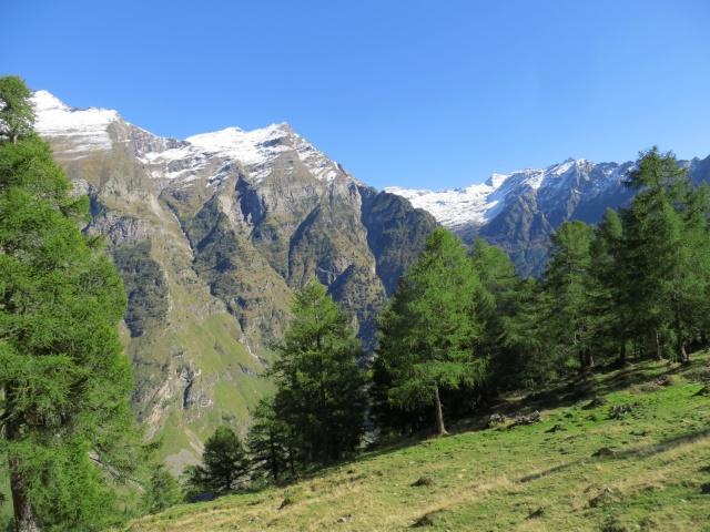 Valle Malvaglia, panorama su Pizzo del Ramulazz (2.939), Piz di Strega (2.912), Cima Rossa (3.161) e Cima dei Cogn (3.063)