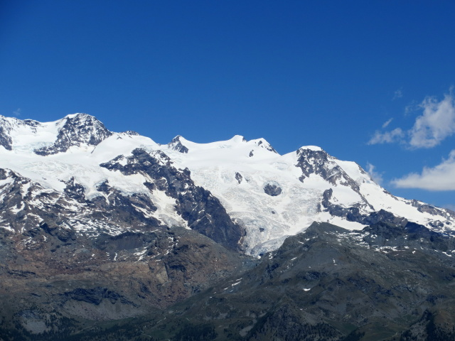 Vista dal Col di Portola sulla catena del Monte Rosa - Punta Dufour (4.634), Punta Gnifetti (Rif. Margherita, 4.554), Punta Parrot (4.432), Piramide Vincent (4.215), Lyskamm Orientale (4.527)