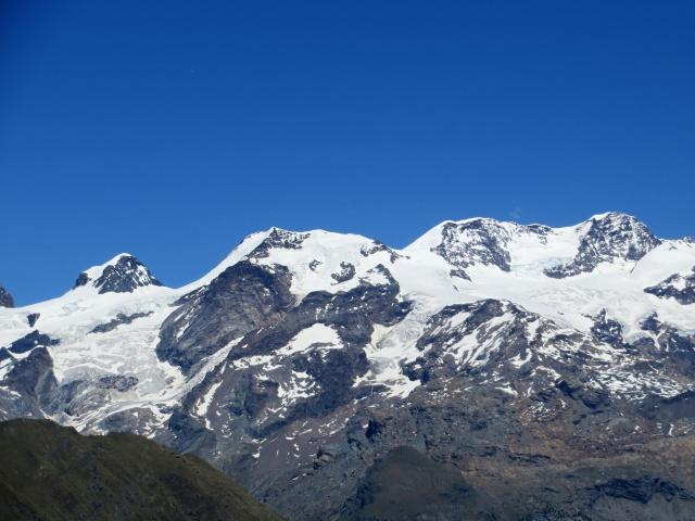 Vista dal Col di Portola sulla catena del Monte Rosa - (da sx) Polluce (4.092), Castore (4.228)