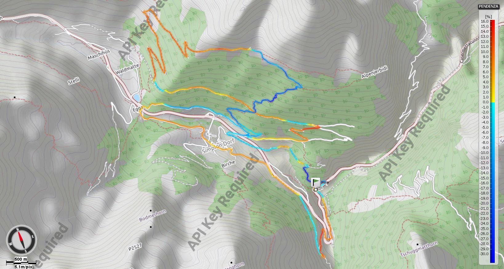 Alpeggi di Simplondorf - Pendenze