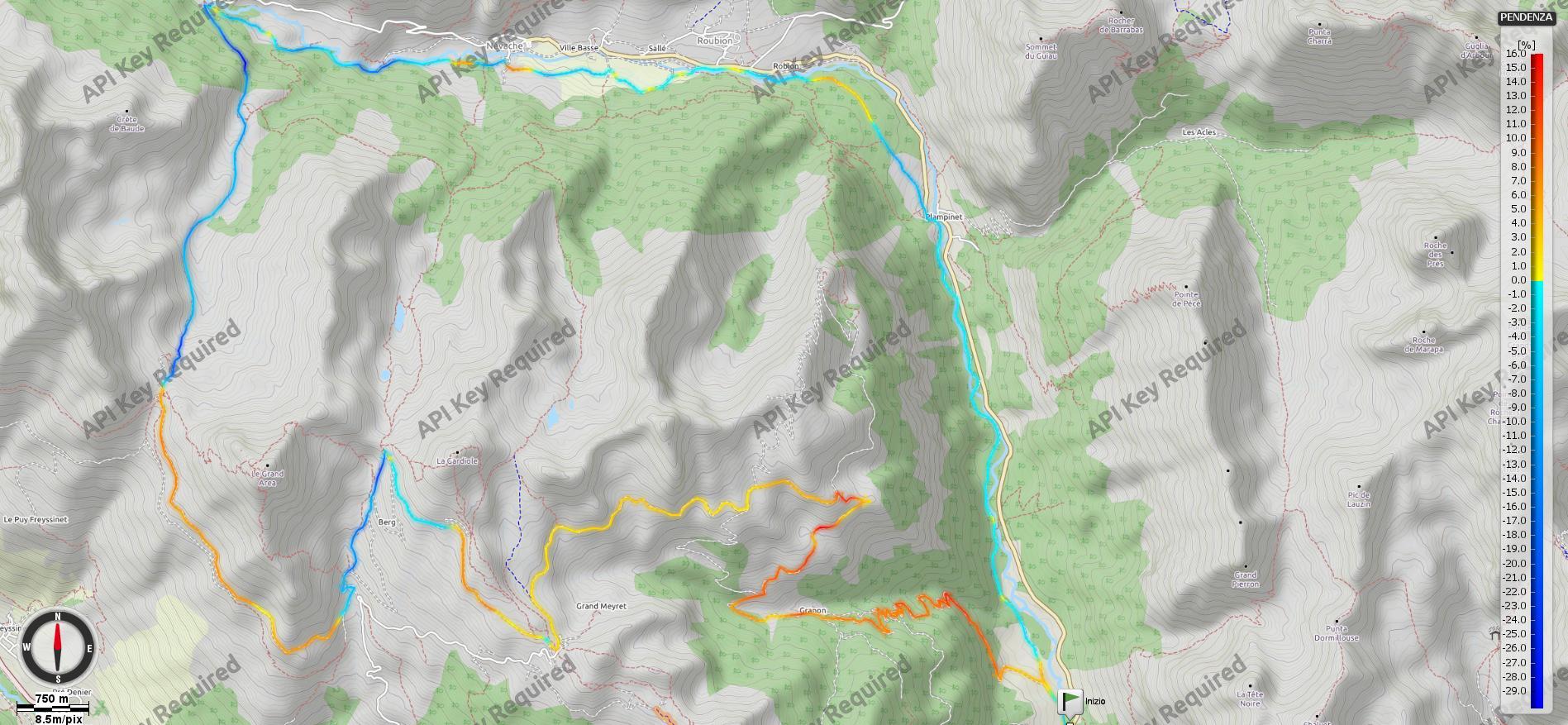Col Granon-Cristol-Buffere Pendenze