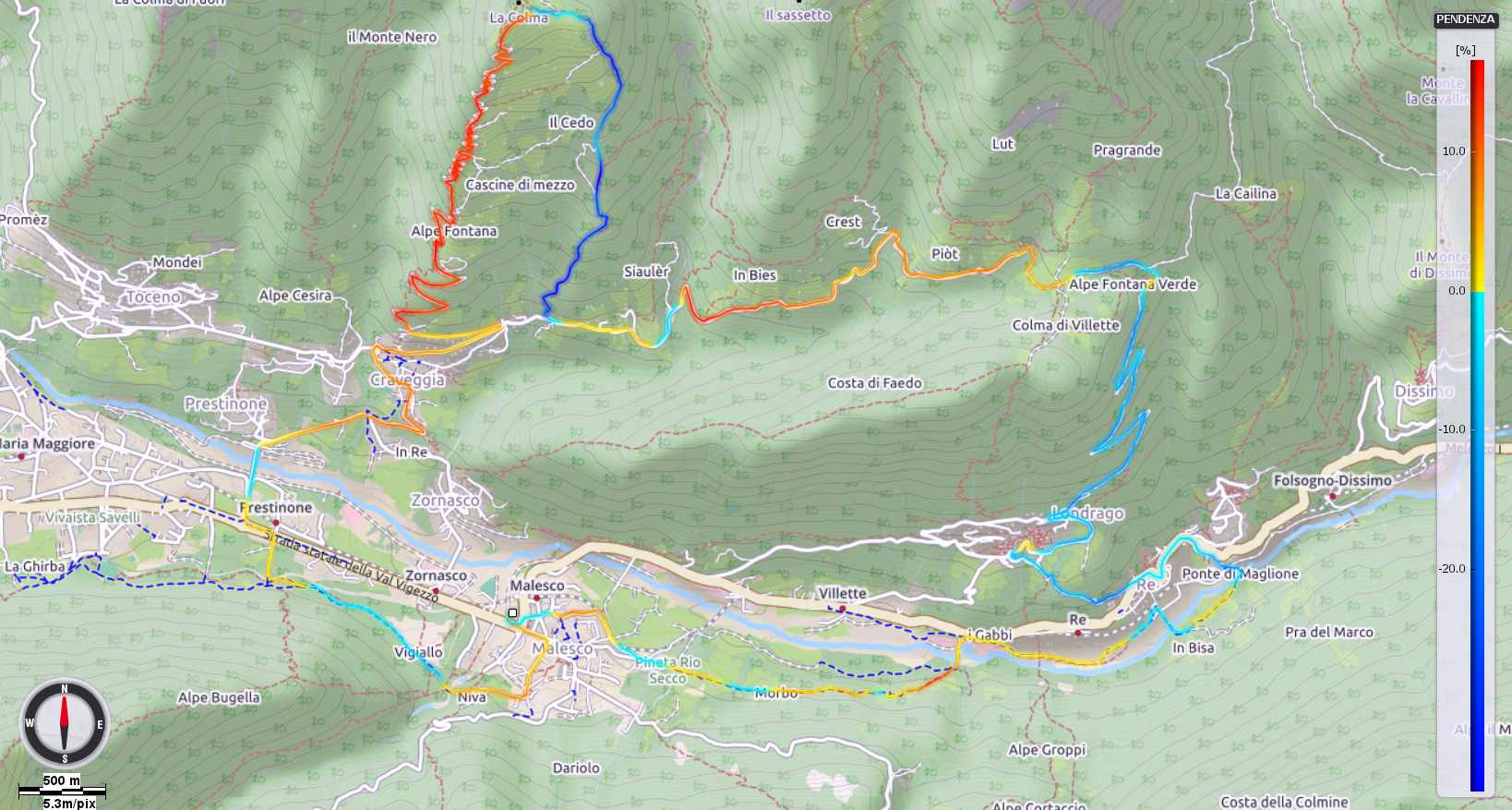 Colma Craveggia - Alpe Blitz Pendenze