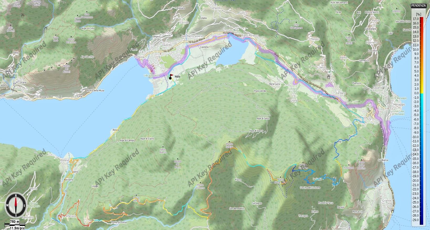 Monte Galbiga, di Tremezzo e Crocione da Porlezza Pendenze