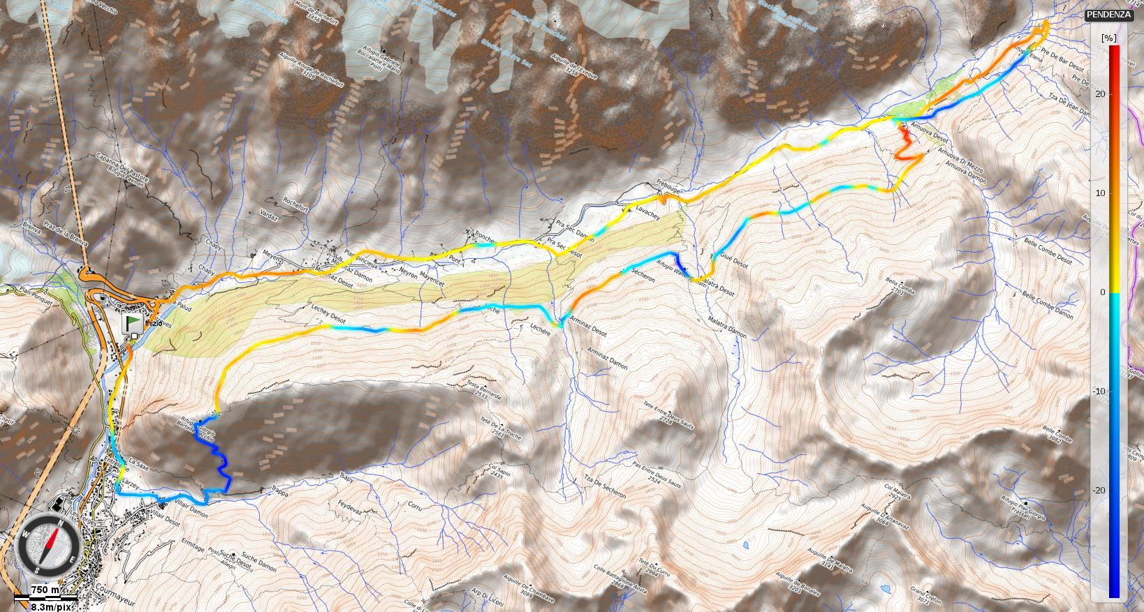Giro dei tre Rifugi della Val Ferret Pendenze