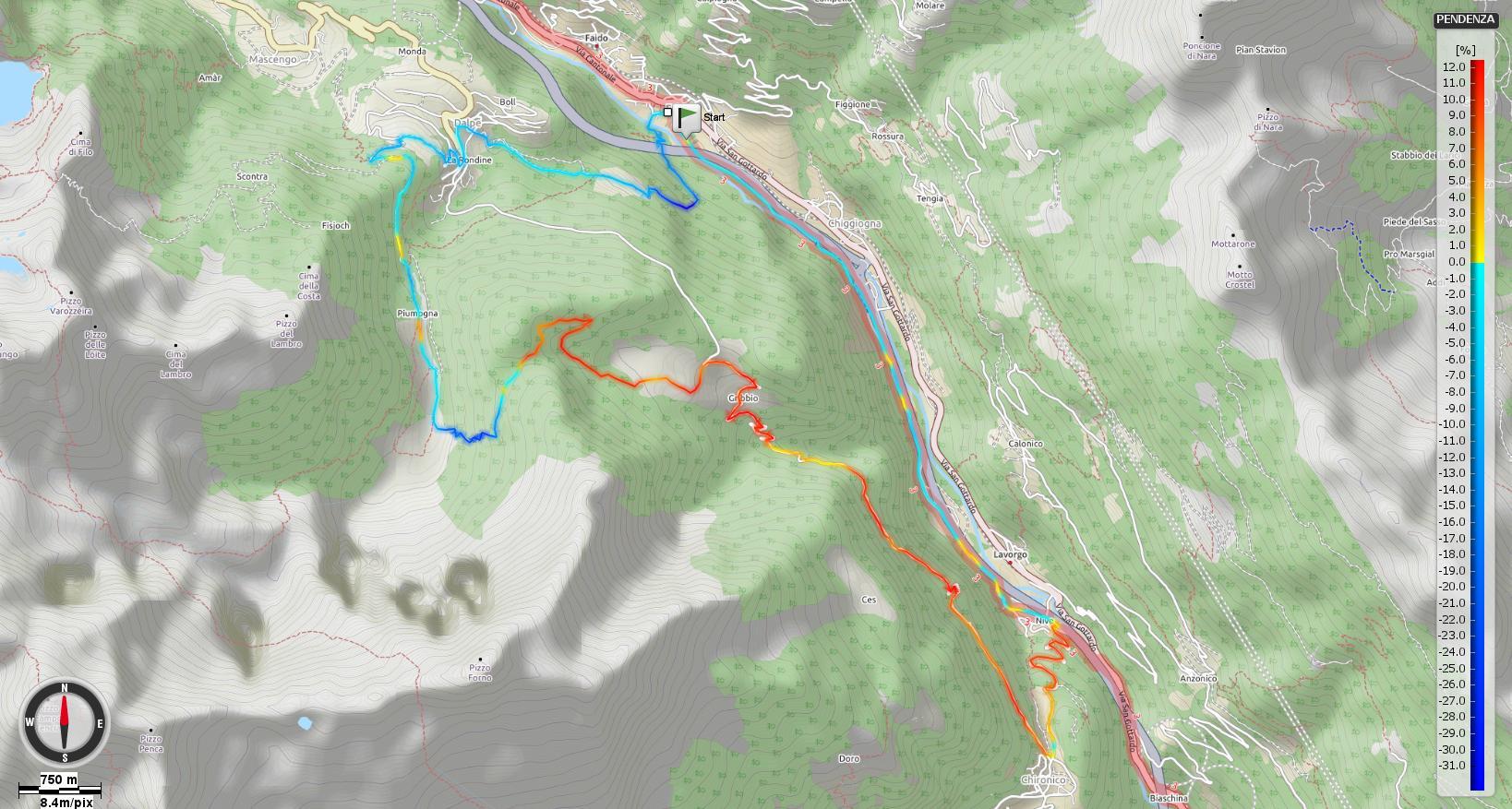 Alpe Piota Pendenze