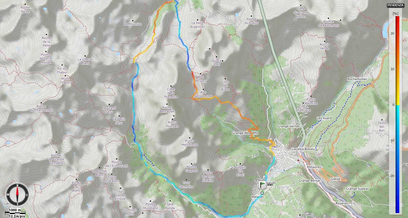Colle della Rho - Colle Valle Stretta Pendenze