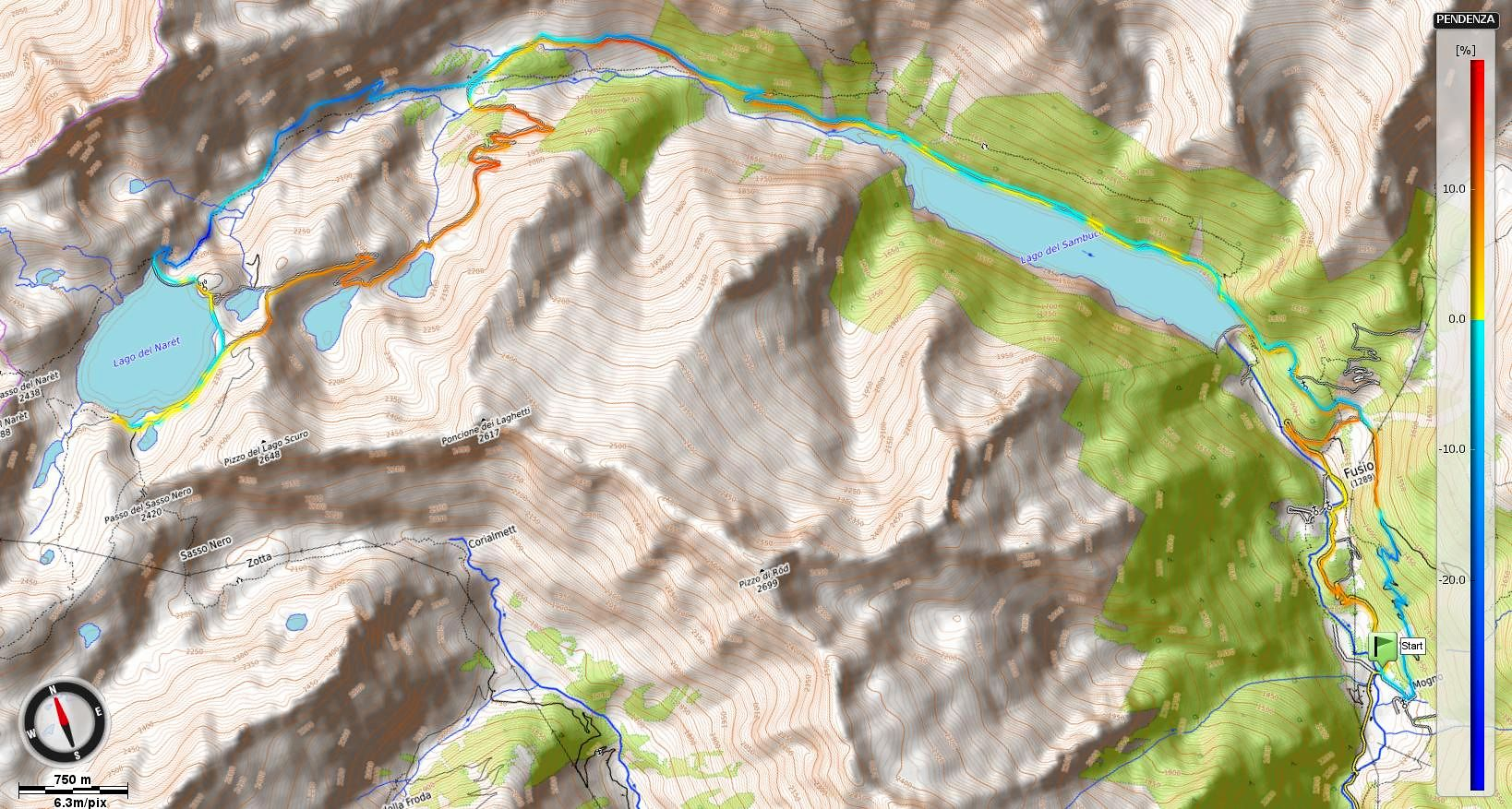 Lago del Naret Pendenze