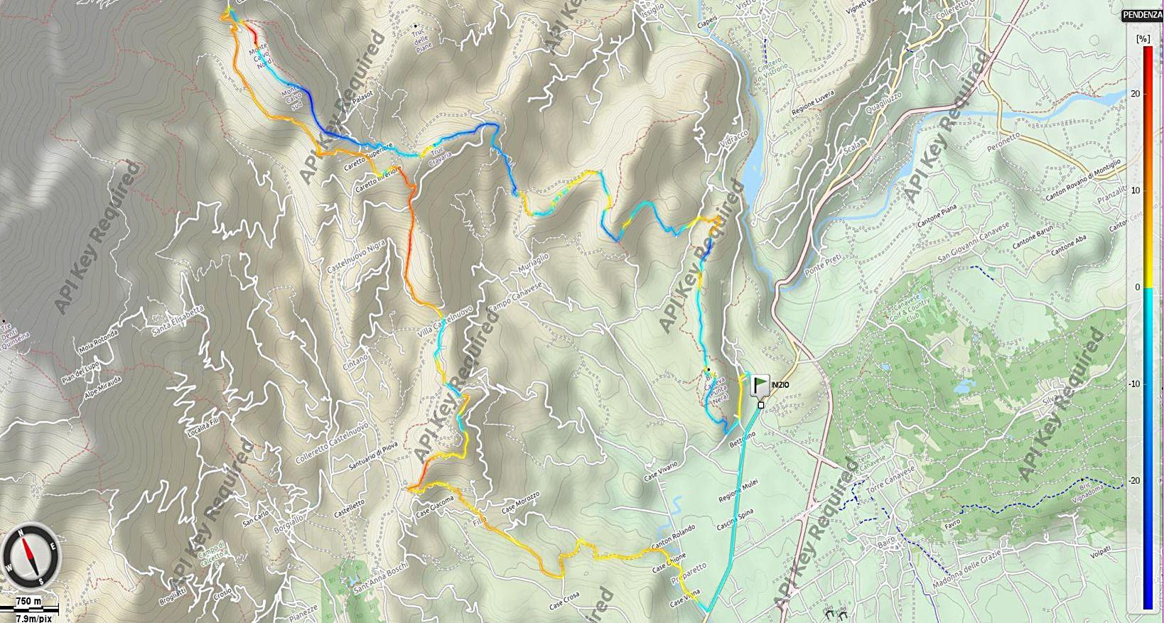 Monte Calvo e Monti Pelati Pendenze