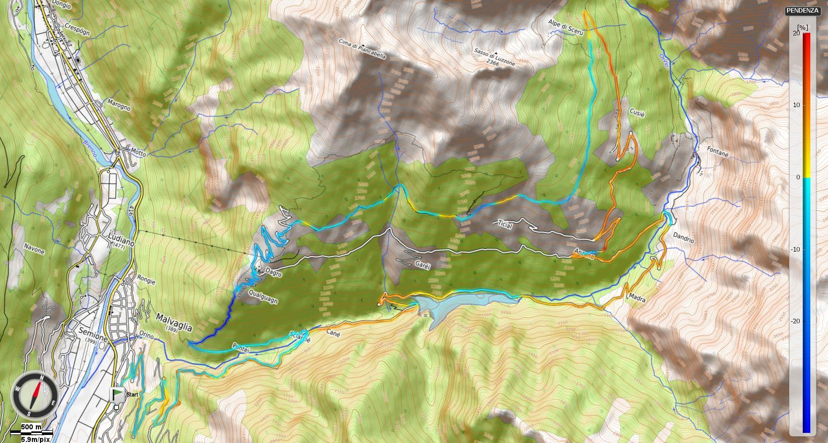 Tour della Valle Malvaglia Pendenze