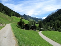 Binntal - inizio (su asfalto) della forestale che sale lungo le pendici meridionali dell'Eggerhorn