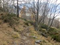 Il tratto di sentiero che costeggia la linea delle fortificazioni militari