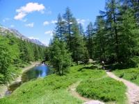 Alta Via della Lötschental in direzione di Weritzalp, laghetto alpino