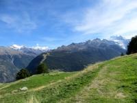 Percorrendo la traccia sterrata che da Moosalp conduce all'alpeggio di Läger - grandi panorami su Mischabel e Trittico del Sempione
