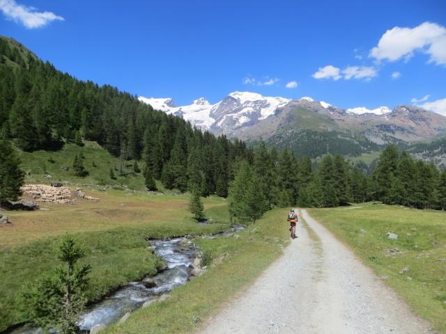 Lo sterrato che scende dalla Alpe di Nana Inferiore a St Jacques