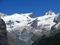 Breithorn centrale (4.159) e ghiacciaio del Ventina, Roccia Nera (4.075), Polluce (4.092)