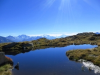 Lago alpino nei pressi di Biel, ottimo sfondo con i 4.000 vallesani